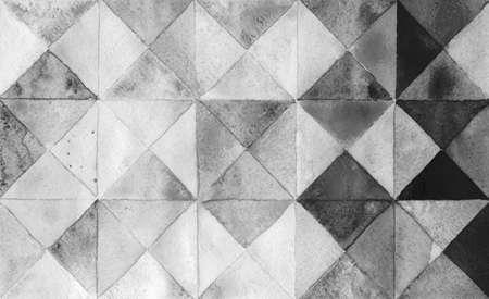 Watercolors triangles and squares, multicolored ornament, seamless black gray. 版權商用圖片