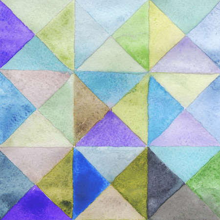 Watercolors triangles and squares, multicolored ornament, seamless pattern purple blue lilac green brown beige