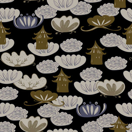 Seamless pattern water lily, slotus leaves flowers pagoda, asian japanese chinese style gray blue beige black background. trend of the season. Can be used for Gift wrap fabrics, wallpapers. Vector illustration