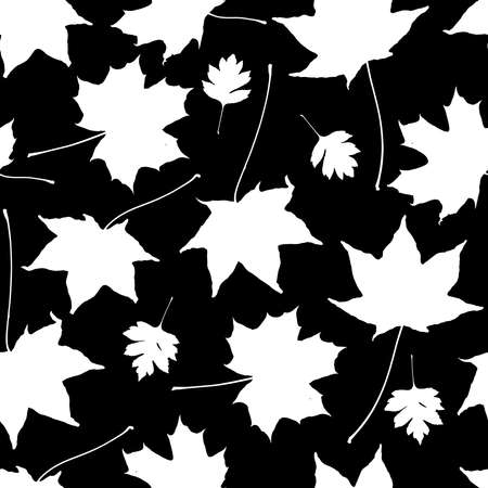 Seamless pattern Maple leaves collection. nature scandinavian style background. Nursery decor trend of the season, white silhouette on black. Can be used for Gift wrap fabric wallpapers. Vector illustration  イラスト・ベクター素材