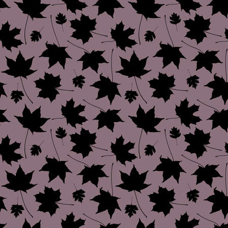Seamless pattern Maple leaves collection. nature scandinavian style background. Nursery decor trend of the season, black silhouette on mauve. Can be used for Gift wrap fabric wallpapers. Vector illustration  イラスト・ベクター素材