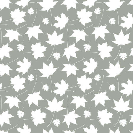 Seamless pattern gray white maple leaves silhouette collection. nature scandinavian style background. decor trend of the season. Can be used for Gift wrap fabrics wallpapers. Vector illustration  イラスト・ベクター素材