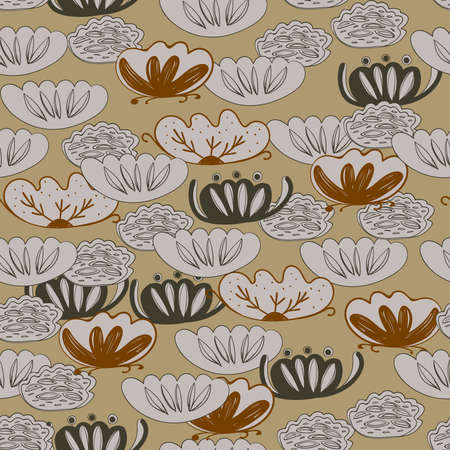 Seamless pattern water lily, slotus leaves flowers imple lines asian japanese chinese style gray beige tan background. trend of the season. Can be used for Gift wrap fabrics, wallpapers. Vector illustration