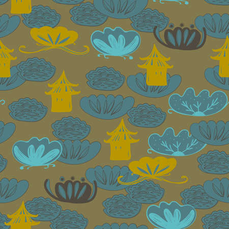 Seamless pattern water lily, slotus leaves flowers pagoda, asian japanese chinese style blue yellow mustard brown background. trend of the season. Can be used for Gift wrap fabrics, wallpapers. Vector illustration  イラスト・ベクター素材