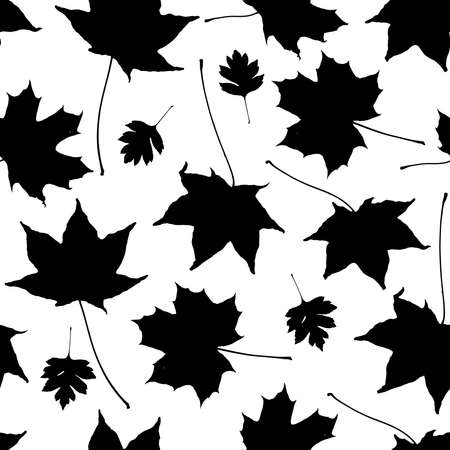 Seamless pattern black white maple leaves silhouette collection. nature scandinavian style background. decor trend of the season. Can be used for Gift wrap fabrics wallpapers. Vector illustration