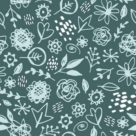 Seamless pattern flowers leaves abstract doodle hand drawn lines scandinavian style white mint teal pine background. fashion print, trend of the season.