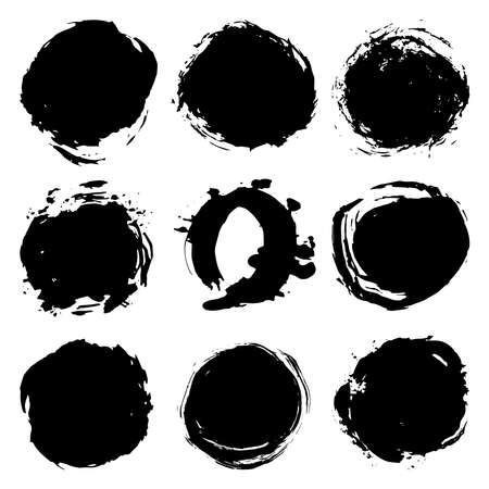 Black brush strokes round spot, collection abstract scandinavian style isolated on white background grunge texture. Card design elements paint stain template frame for your text, copy space. Vector illustration Векторная Иллюстрация