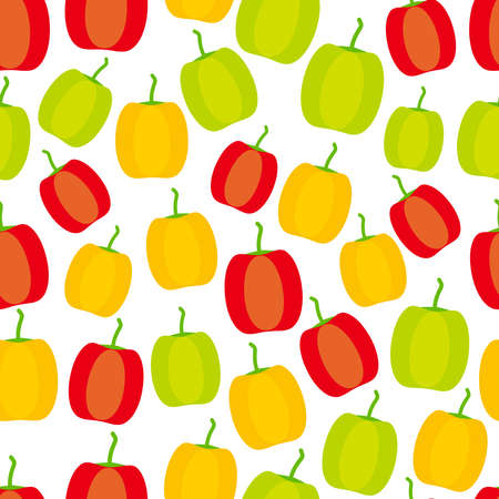 Seamless pattern with green red yellow Bell pepper isolated on white background simple scandinavian style trend of the season.  Vector illustration  イラスト・ベクター素材