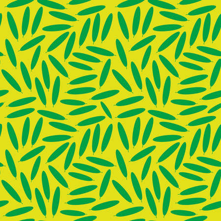Seamless pattern with green cucumbers, on yellow background trend of the season. Vector illustration  イラスト・ベクター素材