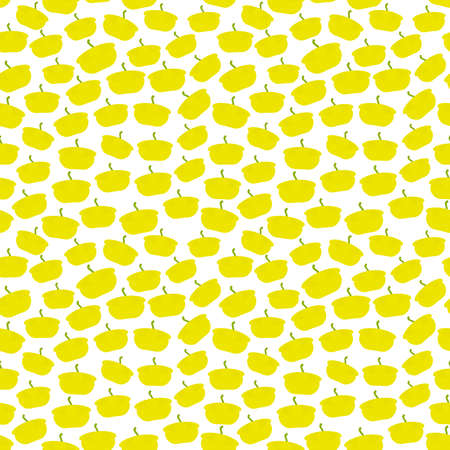 Seamless pattern with Pattypan squash, isolated on white background trend of the season. Can be used for Gift wrap fabrics, wallpapers, food packaging. Vector illustration  イラスト・ベクター素材