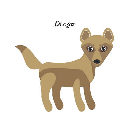 cute Kawaii Australian dingo, isolated on white background. Can be used for cards for preschool children games, learning words. Vector illustration  イラスト・ベクター素材