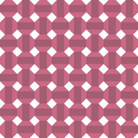 Classic vintage seamless pattern with abstract geometry 3d texture. White pink brown background. Can be used for greeting card design, Gift wrap, fabrics, wallpapers. Vector illustration
