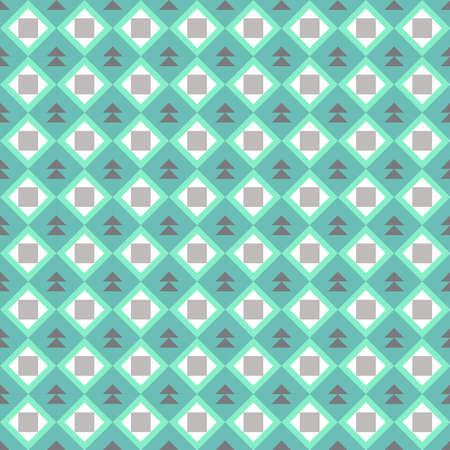Classic vintage seamless pattern with abstract geometry texture. Green blue brown triangle square background. Can be used for greeting card design, Gift wrap, fabric, wallpaper. Vector illustration