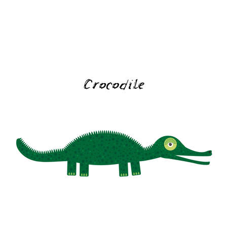cute Kawaii green crocodile, isolated on white background trend of the season. Can be used for cards for children learning words, food packaging. Vector illustration