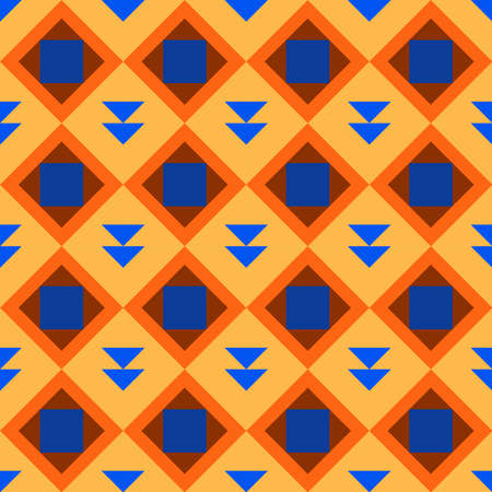 Classic vintage seamless pattern with abstract geometry texture. Golden orange yellow blue brown triangle square background. Can be used for greeting card design, Gift wrap, fabric, wallpaper. Vector illustration  イラスト・ベクター素材
