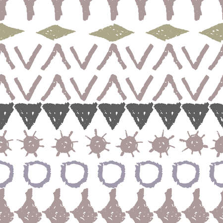 Abstract ethnic boho tribal seamless pattern geometric texture grunge crayons ink. brown gray White background. Can be used for greeting card design, Gift wrap, fabrics, wallpapers. Vector illustration