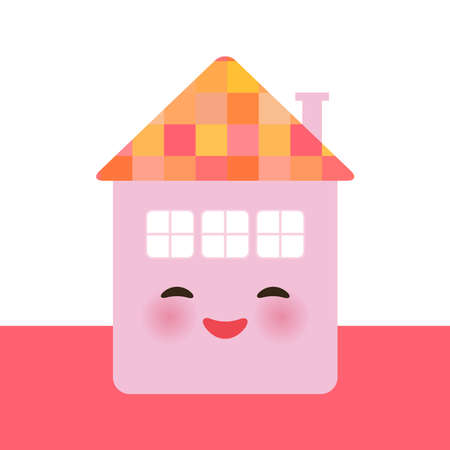 Funny happy house, kawaii face, smile, pink cheeks, big eyes. pastel colors. Banner card template for your text, copy space, isolated on white background. Vector illustration  イラスト・ベクター素材