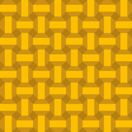 Classic vintage seamless pattern with abstract geometry 3d texture. Golden metallic orange background. Can be used for greeting card design, Gift wrap, fabrics, wallpapers. Vector illustration