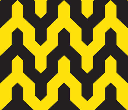 Classic vintage seamless pattern with zigzag chevron triangles scandinavian style. black yellow background. Can be used for greeting card design, Gift wrap, fabrics, wallpapers. Vector illustration  イラスト・ベクター素材