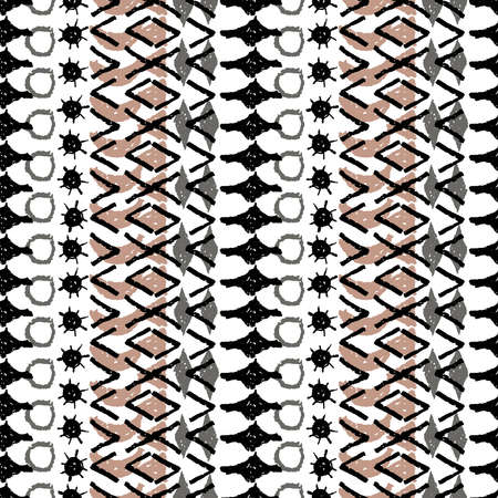 Abstract ethnic boho tribal seamless pattern geometric texture grunge crayons ink. black gray White brown background. Can be used for greeting card design, Gift wrap, fabrics, wallpapers. Vector illustration