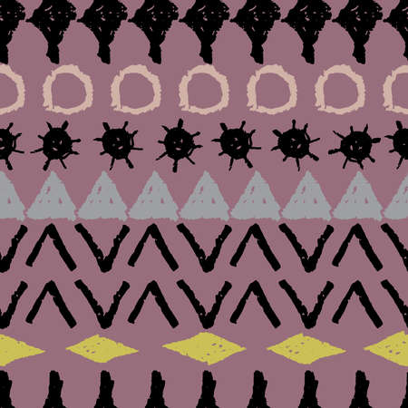 Abstract ethnic boho tribal seamless pattern geometric texture grunge crayons ink. black gray yellow pink lilac background. Can be used for greeting card design, Gift wrap, fabrics, wallpapers. Vector illustration