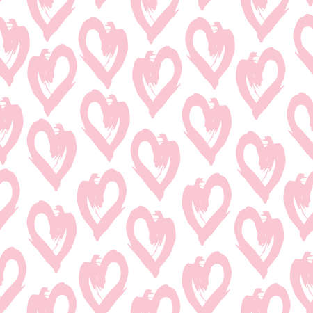 Seamless pattern pink white heart brush strokes lines design, abstract simple scandinavian style background grunge texture. trend of the season. Can be used for Gift wrap fabrics, wallpapers. Vector illustration