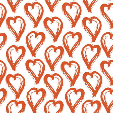 Seamless pattern red white heart brush strokes lines design, abstract simple scandinavian style background grunge texture. trend of the season. Can be used for Gift wrap fabrics, wallpapers. Vector illustration