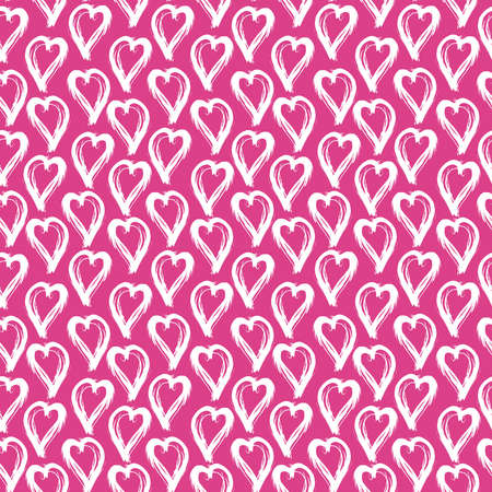 Seamless pattern lilac pink white heart brush strokes lines abstract simple scandinavian style background grunge texture. trend of the season. Can be used for Gift wrap fabrics wallpaper. Vector illustration