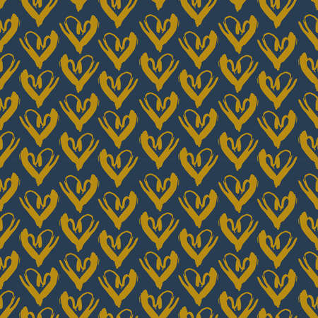 Seamless pattern gray mustard heart brush strokes lines design, abstract simple scandinavian style background grunge texture. trend of the season. Can be used for Gift wrap fabric wallpaper. Vector illustration  イラスト・ベクター素材