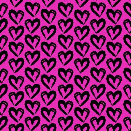 Seamless pattern lilac pink black heart brush strokes lines abstract simple scandinavian style background grunge texture. trend of the season. Can be used for Gift wrap fabrics wallpaper. Vector illustration