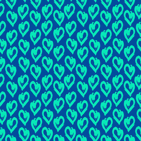 Seamless pattern green blue heart brush strokes lines design, abstract simple scandinavian style background grunge texture. trend of the season. Can be used for Gift wrap fabrics, wallpapers. Vector illustration