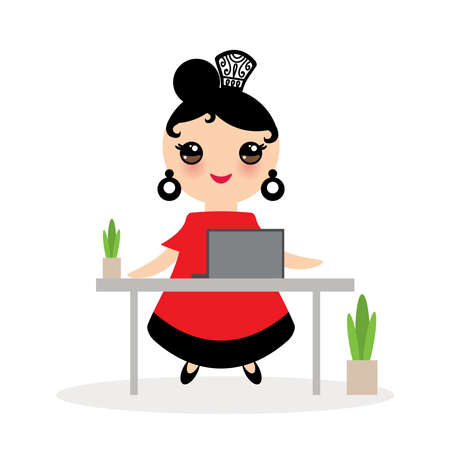 Spanish Woman flamenco dancer. Kawaii cute face with pink cheeks. Gipsy girl, red black dress, home office, online training dancing, distance learning, Isolated on white background. Vector illustration  イラスト・ベクター素材