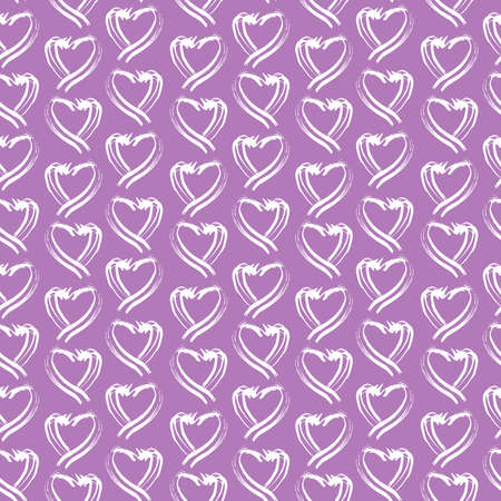Seamless pattern white purple lilac heart brush strokes lines abstract simple scandinavian style background grunge texture. trend of the season. Can be used for Gift wrap fabrics wallpaper. Vector illustration  イラスト・ベクター素材
