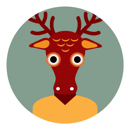 Kawaii funny deer, portrait, face on Gray round background. Card banner design Nursery decor trend of the season, scandinavian style. Vector illustration