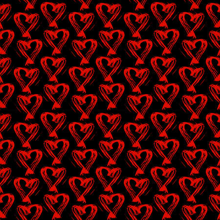 Seamless pattern red black heart brush strokes lines design, abstract simple scandinavian style background grunge texture. trend of the season. Can be used for Gift wrap fabrics, wallpapers. Vector illustration