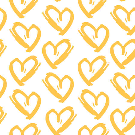 Seamless pattern yellow white heart brush strokes lines design, abstract simple scandinavian style background grunge texture. trend of the season. Can be used for Gift wrap fabrics, wallpapers. Vector illustration  イラスト・ベクター素材