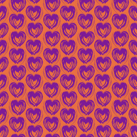 Seamless pattern purple lilac pink heart brush strokes lines abstract simple scandinavian style background grunge texture. trend of the season. Can be used for Gift wrap fabrics wallpaper. Vector illustration  イラスト・ベクター素材
