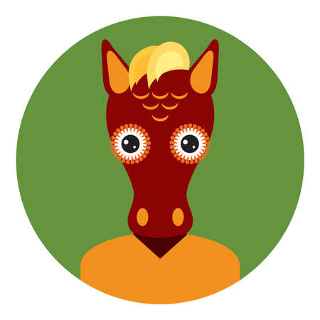 Kawaii funny little brown horse, portrait, face on green round background. Card banner design Nursery decor trend of the season, scandinavian style. Vector illustration