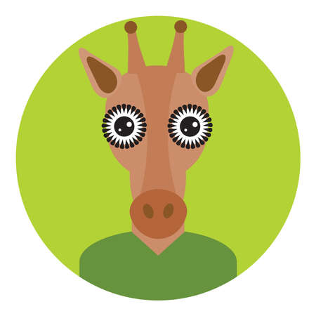 Kawaii funny little brown giraffe, portrait, face on green round background. Card banner design Nursery decor trend of the season, scandinavian style. Vector illustration