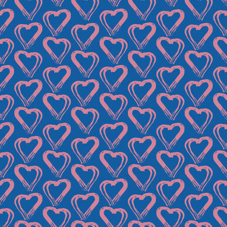 Seamless pattern pink blue heart brush strokes lines design, abstract simple scandinavian style background grunge texture. trend of the season. Can be used for Gift wrap fabrics, wallpapers. Vector illustration  イラスト・ベクター素材
