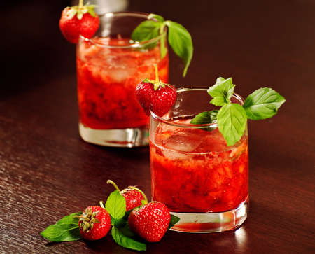 Cocktail with strawberry photo