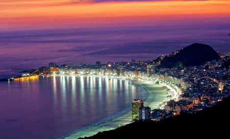 Night view of Copacabana beach  Rio de Janeiro photo