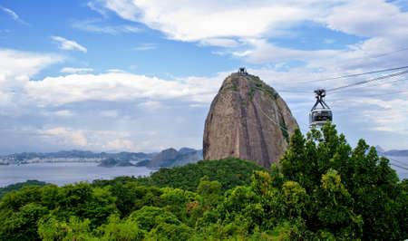 The Sugar Loaf mountain and cable car in Rio de Janeiro