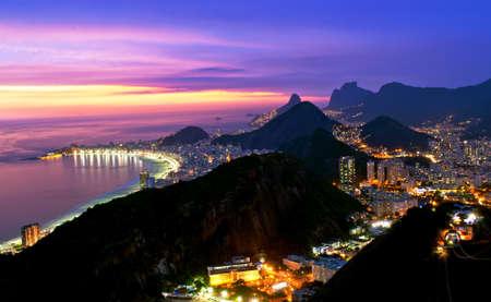rio: Night view of Botafogo and Copacabana beach in Rio de Janeiro Stock Photo