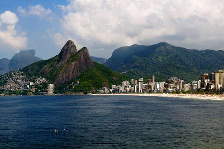 Leblon beach and the Mountain Dois Irmao in Rio de Janeiro Stock Photo