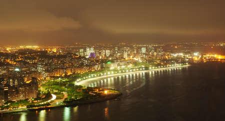 brazil beach: Night view of Flamengo beach and district in Rio de Janeiro
