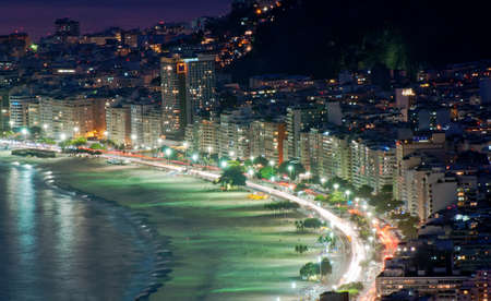 brazil beach: Night view of Copacabana beach in Rio de Janeiro