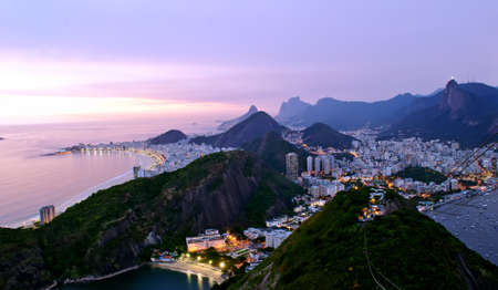 Night view of Botafogo and Copacabana beach in Rio de Janeiro Stock Photo