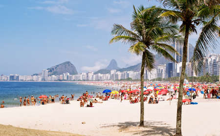 View of Copacabana beach with palms