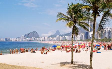 brazil beach: View of Copacabana beach with palms